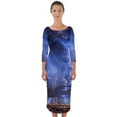 Lighting Flash Fire Wallpapers Night City Town Meteor Quarter Sleeve Midi Bodycon Dress by AnjaniArt