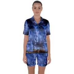 Lighting Flash Fire Wallpapers Night City Town Meteor Satin Short Sleeve Pyjamas Set by AnjaniArt