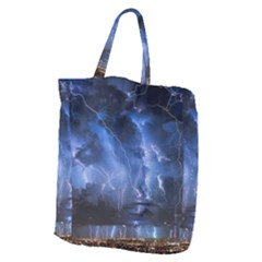 Lighting Flash Fire Wallpapers Night City Town Meteor Giant Grocery Tote