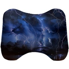 Lighting Flash Fire Wallpapers Night City Town Meteor Head Support Cushion by AnjaniArt