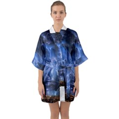 Lighting Flash Fire Wallpapers Night City Town Meteor Quarter Sleeve Kimono Robe by AnjaniArt