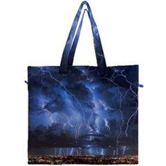 Lighting Flash Fire Wallpapers Night City Town Meteor Canvas Travel Bag by AnjaniArt
