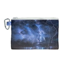 Lighting Flash Fire Wallpapers Night City Town Meteor Canvas Cosmetic Bag (medium)