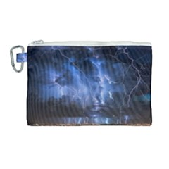 Lighting Flash Fire Wallpapers Night City Town Meteor Canvas Cosmetic Bag (large) by AnjaniArt