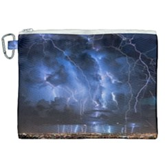 Lighting Flash Fire Wallpapers Night City Town Meteor Canvas Cosmetic Bag (xxl) by AnjaniArt