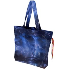 Lighting Flash Fire Wallpapers Night City Town Meteor Drawstring Tote Bag