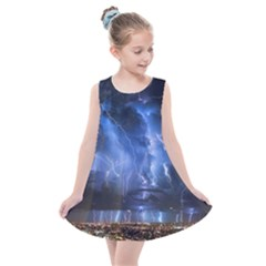 Lighting Flash Fire Wallpapers Night City Town Meteor Kids  Summer Dress by AnjaniArt