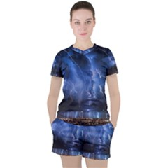 Lighting Flash Fire Wallpapers Night City Town Meteor Women s Tee And Shorts Set