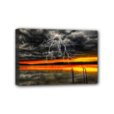 Lighting Strom Summer Star Sunset Sunrise Mini Canvas 6  X 4  (stretched) by AnjaniArt