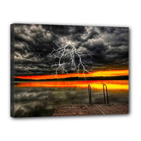Lighting Strom Summer Star Sunset Sunrise Canvas 16  X 12  (stretched) by AnjaniArt