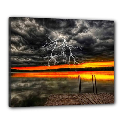 Lighting Strom Summer Star Sunset Sunrise Canvas 20  X 16  (stretched) by AnjaniArt