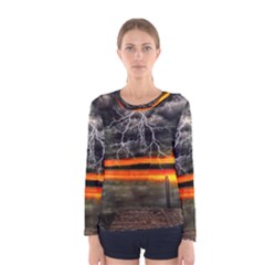 Lighting Strom Summer Star Sunset Sunrise Women s Long Sleeve Tee by AnjaniArt