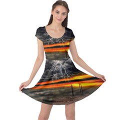 Lighting Strom Summer Star Sunset Sunrise Cap Sleeve Dress by AnjaniArt