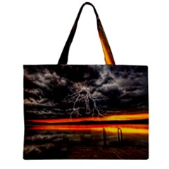 Lighting Strom Summer Star Sunset Sunrise Zipper Mini Tote Bag by AnjaniArt