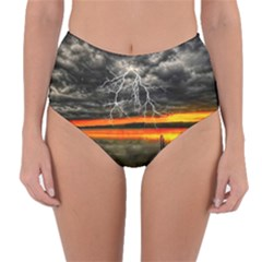 Lighting Strom Summer Star Sunset Sunrise Reversible High Waist Bikini Bottoms by AnjaniArt