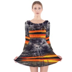 Lighting Strom Summer Star Sunset Sunrise Long Sleeve Velvet Skater Dress by AnjaniArt