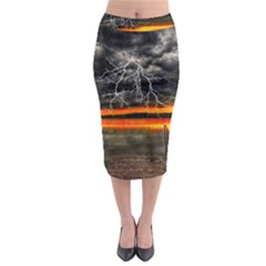 Lighting Strom Summer Star Sunset Sunrise Midi Pencil Skirt by AnjaniArt