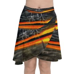 Lighting Strom Summer Star Sunset Sunrise Chiffon Wrap Front Skirt