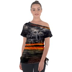 Lighting Strom Summer Star Sunset Sunrise Tie Up Tee by AnjaniArt