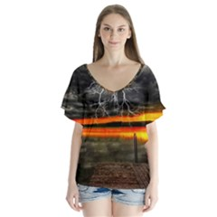 Lighting Strom Summer Star Sunset Sunrise V Neck Flutter Sleeve Top by AnjaniArt