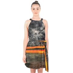 Lighting Strom Summer Star Sunset Sunrise Halter Collar Waist Tie Chiffon Dress by AnjaniArt