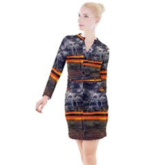 Lighting Strom Summer Star Sunset Sunrise Button Long Sleeve Dress by AnjaniArt