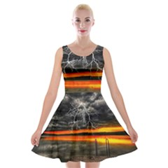 Lighting Strom Summer Star Sunset Sunrise Velvet Skater Dress by AnjaniArt