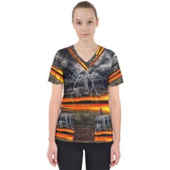Lighting Strom Summer Star Sunset Sunrise Women s V Neck Scrub Top by AnjaniArt