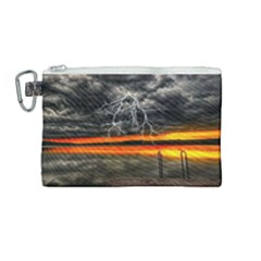 Lighting Strom Summer Star Sunset Sunrise Canvas Cosmetic Bag (medium) by AnjaniArt