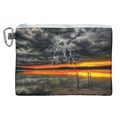 Lighting Strom Summer Star Sunset Sunrise Canvas Cosmetic Bag (xl) by AnjaniArt