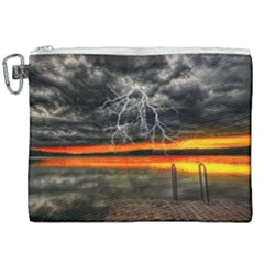 Lighting Strom Summer Star Sunset Sunrise Canvas Cosmetic Bag (xxl) by AnjaniArt