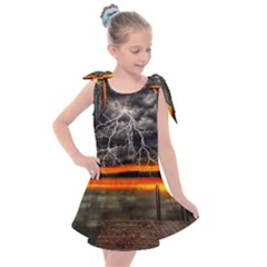 Lighting Strom Summer Star Sunset Sunrise Kids  Tie Up Tunic Dress by AnjaniArt