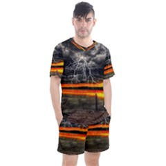 Lighting Strom Summer Star Sunset Sunrise Men s Mesh Tee And Shorts Set by AnjaniArt