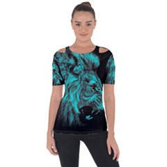 King Lion Wallpaper Jungle Shoulder Cut Out Short Sleeve Top by AnjaniArt