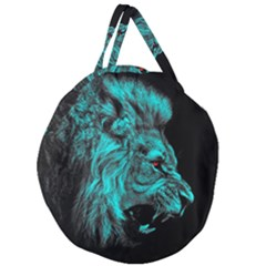 King Lion Wallpaper Jungle Giant Round Zipper Tote by AnjaniArt
