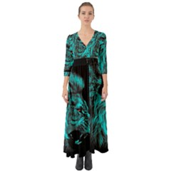 King Lion Wallpaper Jungle Button Up Boho Maxi Dress