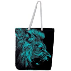 King Lion Wallpaper Jungle Full Print Rope Handle Tote (large) by AnjaniArt