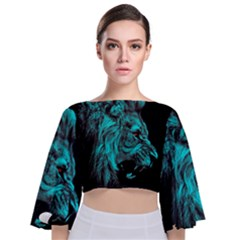 King Lion Wallpaper Jungle Tie Back Butterfly Sleeve Chiffon Top