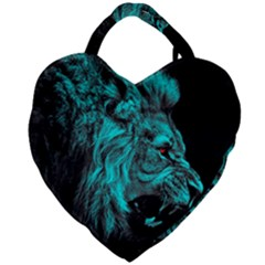 King Lion Wallpaper Jungle Giant Heart Shaped Tote by AnjaniArt