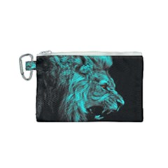 King Lion Wallpaper Jungle Canvas Cosmetic Bag (small) by AnjaniArt