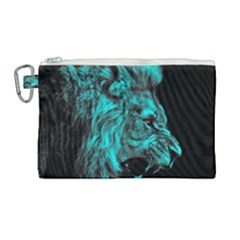 King Lion Wallpaper Jungle Canvas Cosmetic Bag (large) by AnjaniArt