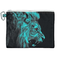 King Lion Wallpaper Jungle Canvas Cosmetic Bag (xxl) by AnjaniArt