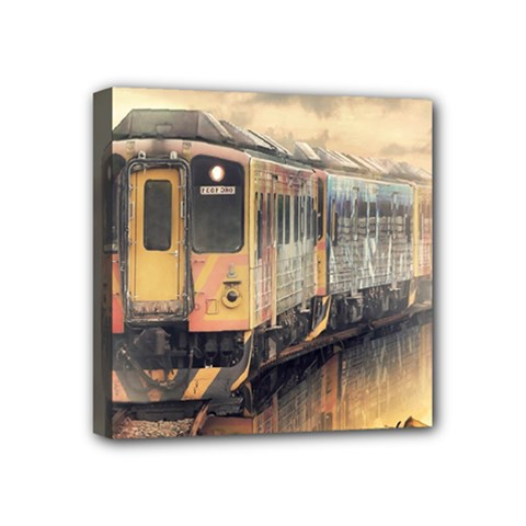 Manipulation Ghost Train Painting Mini Canvas 4  X 4  (stretched) by AnjaniArt