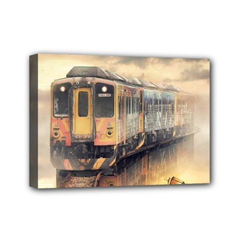 Manipulation Ghost Train Painting Mini Canvas 7  X 5  (stretched) by AnjaniArt