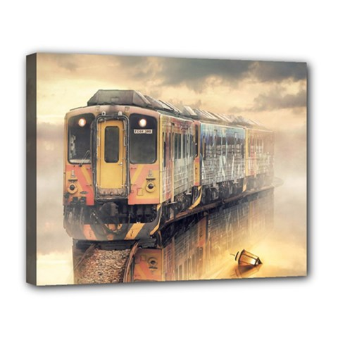 Manipulation Ghost Train Painting Canvas 14  X 11  (stretched) by AnjaniArt