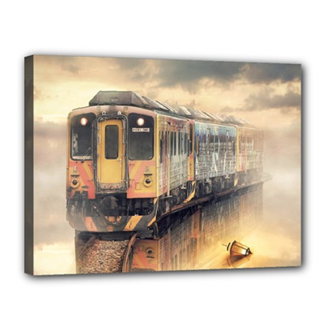 Manipulation Ghost Train Painting Canvas 16  X 12  (stretched) by AnjaniArt