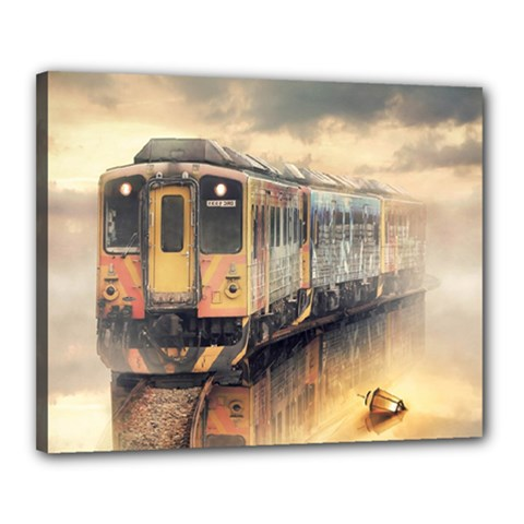 Manipulation Ghost Train Painting Canvas 20  X 16  (stretched) by AnjaniArt