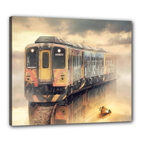 Manipulation Ghost Train Painting Canvas 24  X 20  (stretched) by AnjaniArt