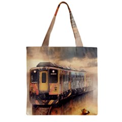 Manipulation Ghost Train Painting Zipper Grocery Tote Bag