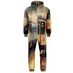 Manipulation Ghost Train Painting Hooded Jumpsuit (men)  by AnjaniArt